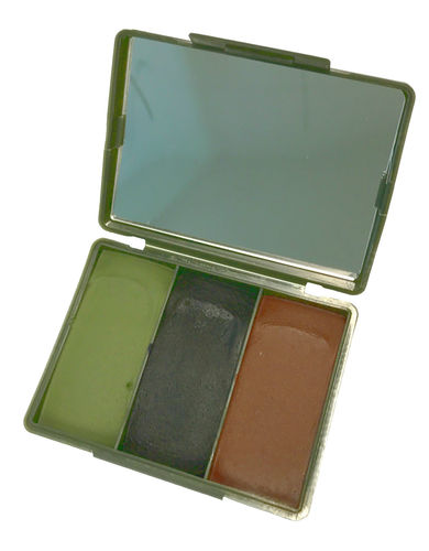 British Army camo cream set, green/black/brown, with a mirror