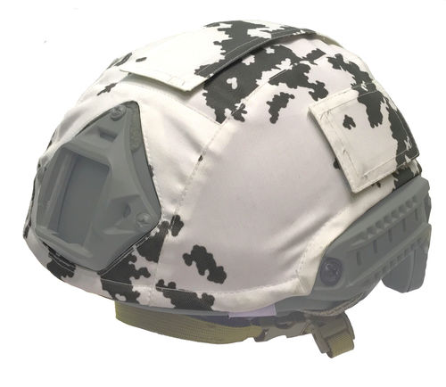 WarGear™ Helmet cover, High Cut, M05 snow camouflage pattern, with removable velcro covers
