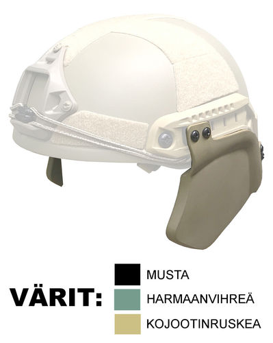 UaRms NIJ IIIa ballistic helmet side protection elements, BSP-F flat profile model