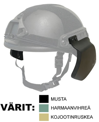 UaRms NIJ IIIa ballistic helmet side protection elements, BSP-V wide profile model